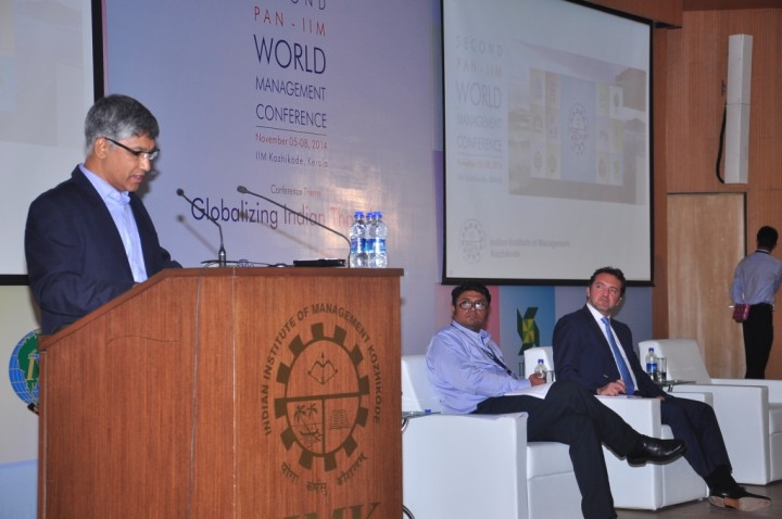From L to R - Prof. Kulbhushan Balooni, Director (in-Charge), IIMK, Prof. Keyoor Purani, Dean Development, IIMK , Mr. Guillaune Sicard, President, Nissan India - Pan IIM World Management Conference