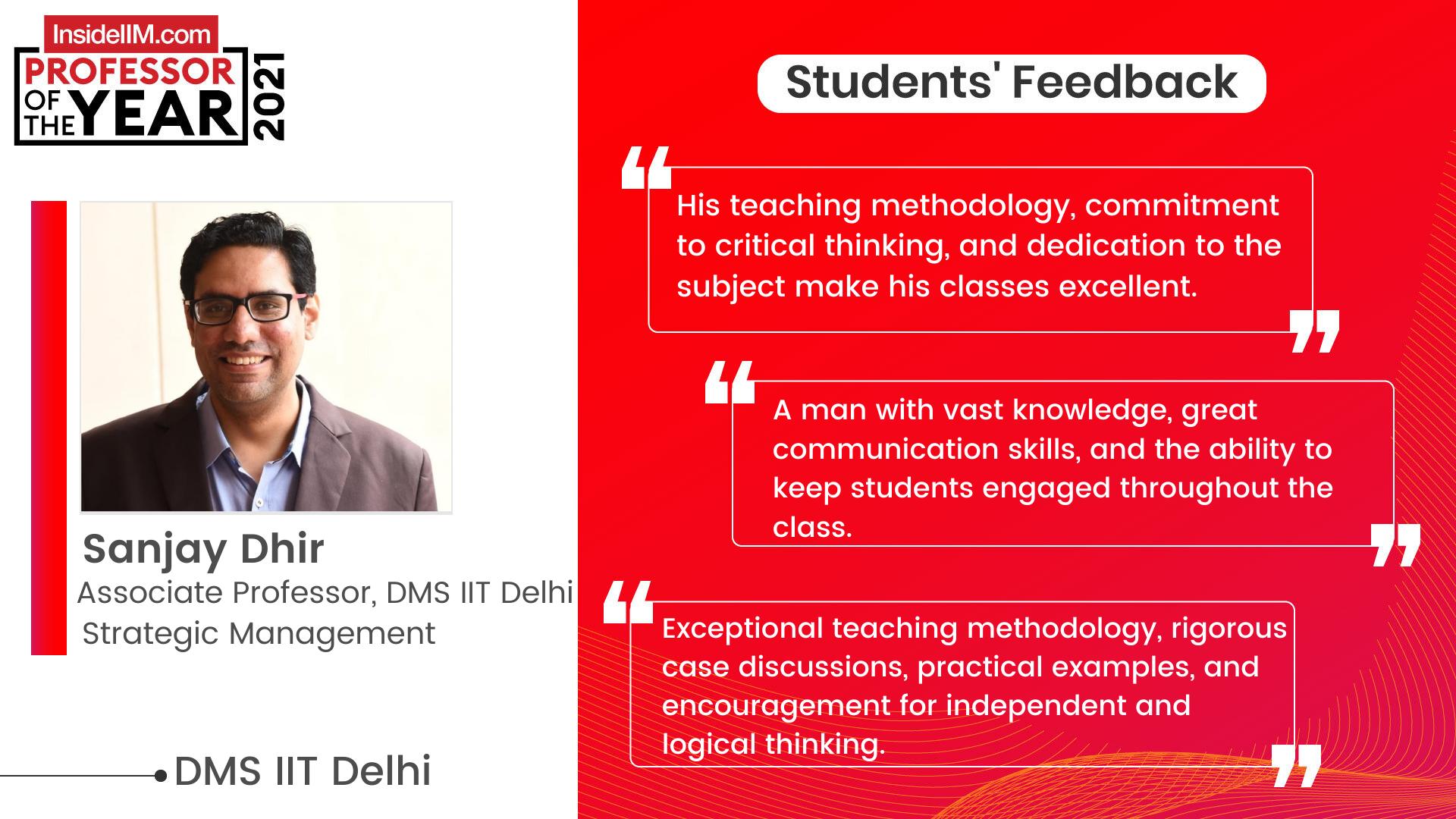 DMS IIT Delhi Professor Of The Year